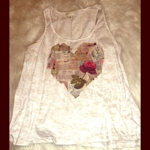 Forever 21 Tops - F21+ Cream Tank w| Heart Graphic Size 2X